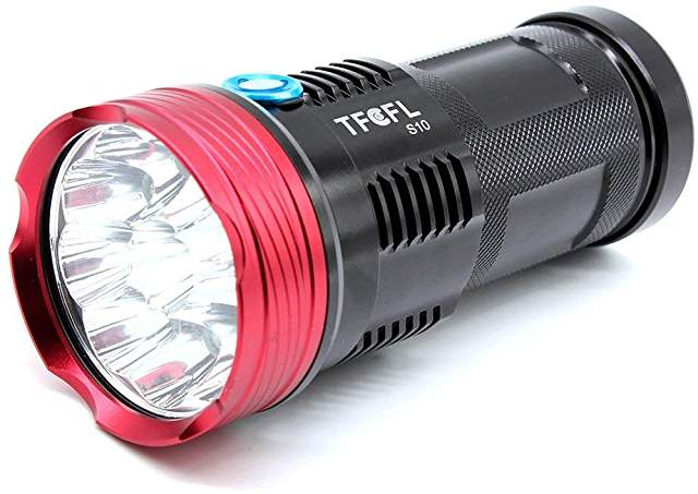 TFCFL 10,000 Lumen Flashlight w/4 18650 Batteries